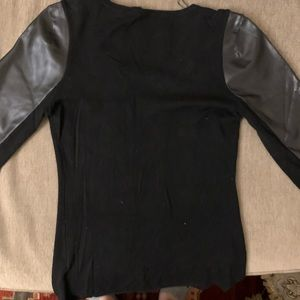 Guess Faux Leather and Rhinestone Top